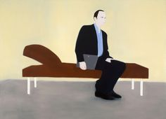 Miltos Manetas, PATIENTS (the architect with his laptop), 1997, Oil on Canvas, Courtesy the artist, NYC