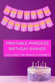 Planning a princess party soon? Check out our free printable birthday banner, also included is the entire alphabet! Simply print, cut and hang up. Each of the bright pink banner pieces have a cute little crown on it. Birthday parties get to be so expensive, so this little party diy, can help offset some of the cost. Save this pin for future reference and visit us at VanahLynn.com  Visit our blog and see 1st birthday ideas, llama party outfits and rainbow cake smash.