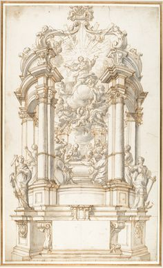 Anonymous, Italian, first half of the 18th century | Design for a Freestanding Altar dedicated to the Assumption of the Virgin. | The Met