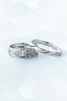 Marriage Rings Feather Engagement Ring Diamond Pt950  STAR JEWERLY Made in Japan