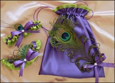 Peacock Feather Wedding Purple and Green Bridal by All4Brides, $65.00