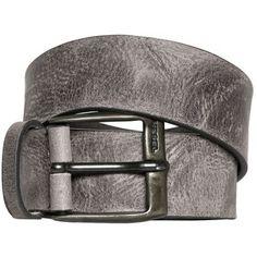 cdeead3e2f Diesel Men 40mm Vintage Treated Leather Belt Pelle Grigia, Cinture In Pelle,  Uomini In