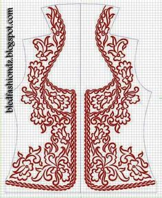 Embroidery on bodice/vest Tambour Embroidery, Folk Embroidery, Hand Embroidery Designs, Ribbon Embroidery, Embroidery Stitches, Embroidery Patterns, Machine Embroidery, Sewing Patterns, Fashion Sewing