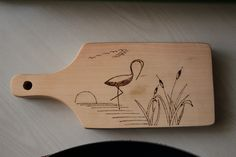 "Woodburning art. ""Flamingo in sunset"""