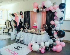 Chanel Birthday Party, Sleepover Birthday Parties, Chanel Party, 31st Birthday, Sweet 16 Birthday, Gold Birthday, Birthday Party Themes, Baby Shower Themes, Baby Shower Decorations