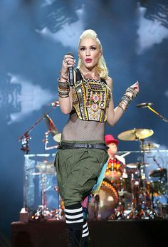Gwen Stefani wearing Jeremy Scott for Moschino at the Kaaboo Music Festival.Styled by #RandM.