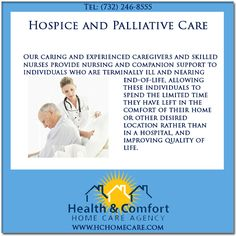 Health & Comfort Home Care provides compassionate hospice and palliative care in NJ. @Health & Comfort Home Care.com, can provide hospice palliative care in New Jersey at senior living residences, assisted living facilities, nursing homes or any location of the patient's choosing. #hchomecare #homecare #homecareagency in #newjersey #palliativecare #hospicecare