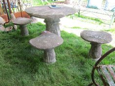 mushroom table and chairs concrete