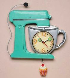 Mixer Clock Keep track of time with this whimsical pendulum wall clock from Michelle Allen Designs. Pendulum Wall Clock, Wall Clocks, Cupcake Collection, Kitchen Clocks, Unique Clocks, Father Time, Kitchen Themes, Retro, Household Items