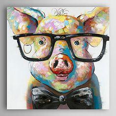 【今だけ☆送料無料】 アートパネル  動物画1枚で1セット キャラクター 豚 ブタ メガネ【納期】お取り寄せ2~3週間前後で発送予定