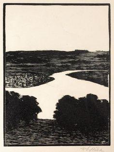 Landscape - woodcut 1911 - Frantisek Kobliha (1877-1962, Czechoslovakia)