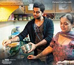 #PicoftheDay : @imVkohli trying his hands in the Kitchen . :) #Cricketer