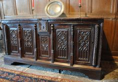 A  LATE 15TH CENTURY MONUMENTAL GOTHIC CARVED OAK COFFER. FRENCH. CIRCA  1480-1500.