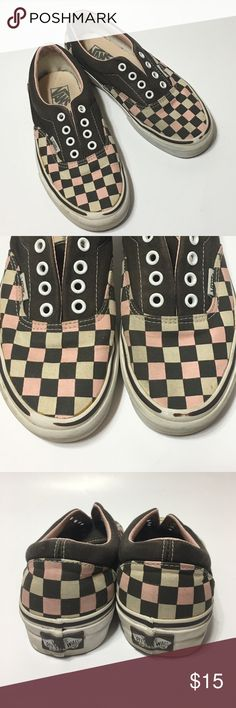 Vans Off the Wall Shoes • Sz 6.5 These are some lived but still in good shape Van's in gray and pink • The squares are light pink and gray not dirty lol • Needs new shoe strings but that's it • Bottoms are in excellent shape • Size 6.5 Van's Shoes Athletic Shoes