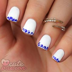 Easy nailsart for white and purple  #nails #nailswag