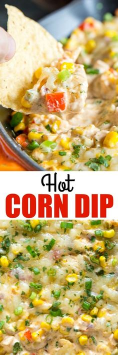 This easy Hot Corn Dip is ultra cheesy and SO TASTY! Make it with frozen corn in the winter and fresh corn in the summer. via @culinaryhill