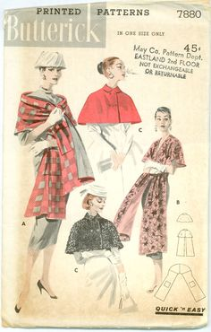 Butterick 7880 - 1950s Quick N Easy Cape and Stole
