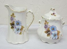 Antique Juice Water Pitcher and Sugar Bowl Canister Floral Pattern Signed #England