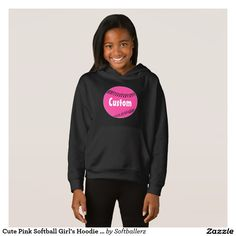 Cute Pink Softball Girl's Hoodie Sweatshirt. Add your own custom text! #softball #pink #hoodie #sweatshirt #fastpitch