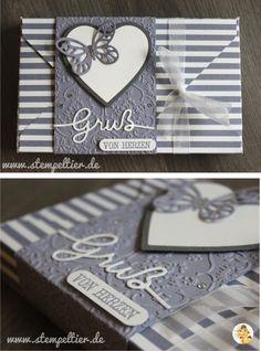Toffifee Verpackung mit dem Envelope Punch Board von Stampin' Up! in Blauregen. Gruß von Herzen Thinlit Schmetterling butterfly