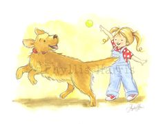 Children's Wall Art Print  Playing Fetch  by PhyllisHarrisDesigns, $25.00-except with a boy and our two dogs