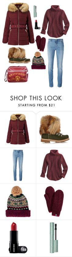 """""""Gryffindor & (Huffle)puff(er)"""" by marina-bencun ❤ liked on Polyvore featuring Miss Selfridge, Montelliana, Givenchy, San Diego Hat Co., The North Face, Too Faced Cosmetics and puffer"""