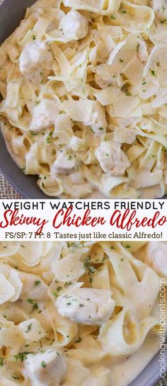 Skinny Chicken Alfredo Pasta made with garlic and Parmesan cheese that's creamy, delicious and tastes just like the original with just 7 smart points per serving. A Weight Watcher friendly meal with all the flavors of your favorite restaurant dish. Weight Watchers Pasta, Weight Watcher Dinners, Skinny Recipes, Ww Recipes, Cooking Recipes, Healthy Recipes, Skinny Meals, Chicken Recipes, Recipes Dinner