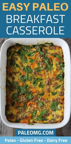 Easy Breakfast Casserole Breakfast casserole is such a filling meal that the whole family can enjoy. We want to share one of our favorite easy breakfast casserole recipes that is gluten free and dairy free. It is the perfect health Easy Breakfast Casserole Recipes, Breakfast Casserole Sausage, Whole 30 Breakfast, Breakfast Bites, Paleo Recipes, Free Recipes, Cooking Recipes, Dairy Free, Gluten Free