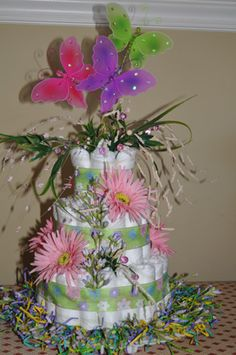 spring diaper cake