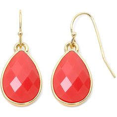Liz Claiborne Coral and Gold Tone Drop Earrings ($8.40) ❤ liked on Polyvore
