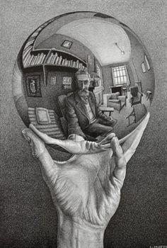 Self Portrait in Spherical Mirror, 1935, by MC (Maurits Cornelis) Escher (1898–1972)