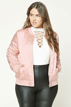Forever 21+ - A padded woven bomber jacket featuring a quilted pattern, a metallic sheen, a zip front, front slant pockets, and ribbed trim.