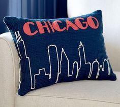Chicago Crewel Embroidered Pillow #potterybarn #wherewegotengaged