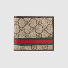 GUCCI Gg Supreme Web Bi-Fold Wallet. #gucci #bags #leather #wallet #canvas #accessory