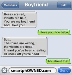 Cheating Boyfriend Poems ouch O. Very Funny Texts, Funny Texts Jokes, Funny Poems, Text Jokes, Funny Texts Crush, Funny Text Fails, Cute Texts, Really Funny Memes, Funny Messages