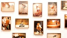 for my sister: pictures of boards - surf boards, skate boards, snow boards - in sepia all over her wall
