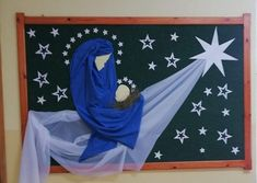 Mural de Natal: As 29 Melhores Idéias Para Inspiração Church Altar Decorations, Xmas Decorations, Christmas Makes, Christmas Art, Preschool Christmas Crafts, Crafts For Kids, Childrens Ministry Christmas, Christmas Stencils, Christian Crafts