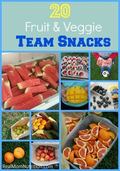 20 Healthy Team Snacks for Kids 20 Fruit & Veggie Team Snacks--not into sports, but I LOVE these real food snack ideas, especially for going out on errands.<br> Bring healthy team snacks to your child's next game. Here are 20 ideas. Sport Snacks, Baseball Snacks, Baseball Bats, Kids Soccer Snacks, Softball Treats, Volleyball Snacks, Cheer Snacks, Healthy Kids, Healthy Snacks