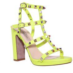 VALENTINO GARAVANI Rockstud sandal ($940) ❤ liked on Polyvore featuring shoes, sandals, real leather shoes, leather sandals, summer shoes, neon yellow sandals and leather footwear