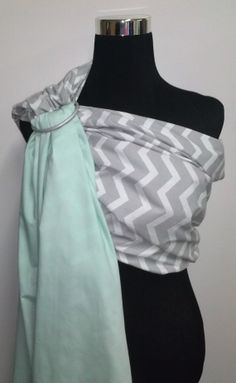 Grey and White Chevron and Solid Mint Green by CoutureBabySlings, $55.00