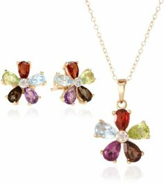 "Yellow Gold Plated Sterling Silver Multi-Gemstone Flower Earrings and Pendant Necklace Set, 18"" Amazon Curated Collection,"