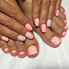 Summer Ideas for Manicure and Pedicure in One Style Pedicure Designs, Pedicure Nail Art, Toe Nail Designs, Toe Nail Art, Acrylic Nails, Pedicure Set, Fabulous Nails, Gorgeous Nails, Pretty Nails
