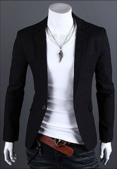 Mens One Button Casual Slim Fit Stylish Suit Blazer Jackets - Smart Pinner Stylish Mens Outfits, Cool Outfits, Casual Outfits, Stylish Suit, Men's Outfits, Mens Fashion Suits, Mens Suits, Jackets Fashion, Designer Suits For Men