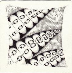 Ein Zentangle aus den Mustern Jburst, Laced, Lokomotive, gezeichnet von Ela…
