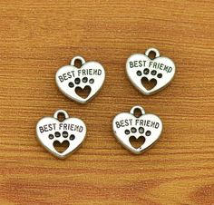 5/10/20/50 Best Friend Charms Antique Silver Tone with Heart Dog Paw - SC2641