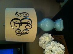 Simple DIY monogram lampshade~ Just add vinyl monogram to plain lampshade
