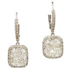Cushion Diamond Earrings with Micropave Diamonds Platinum