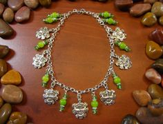 Jade Green Man Anklet by StarshineBeads on Etsy
