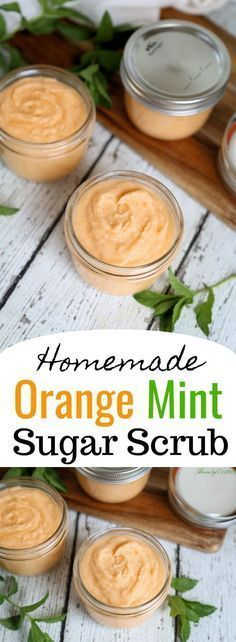 Homemade Orange Mint Sugar Scrub Recipe - Orange Mint Sugar Scrub Recipe – Easy Homemade Gift Idea Best Picture For Skincare wardah For Y - Sugar Scrub Homemade, Sugar Scrub Recipe, Homemade Body Scrubs, Sugar Scrub For Face, Body Scrub Recipe, Diy Body Scrub, Diy Scrub, Diy Exfoliating Face Scrub, Hand Scrub