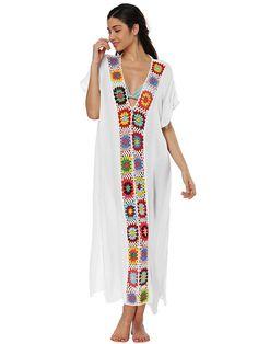 33ed37019879c Deep V-neck Embroidered Split-joint Beach Maxi Dresses – chicbohodress  Swimwear Cover Ups